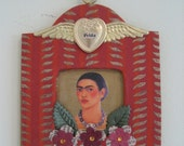 Frida original mixed media small portrait collage ornament one of a kind Kahlo ships free