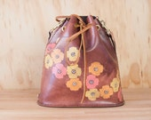 Bucket Bag - Leather Bucket Bag - Leather Handbag - Leather Purse - Leather Tote - Poppy Garden pattern - yellow, orange, pink and mahogany