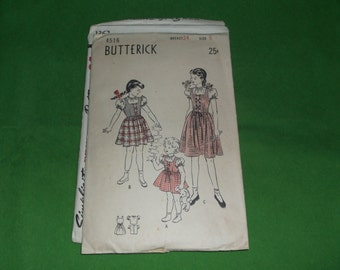 Vintage Butterick Sewing Pattern 4516 Girls Jumper dress and Puff sleeve Blouise