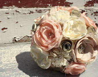 Blush wedding bouquet, bridal bouquet, pale peach fabric flower and sola flower bouquet, vintage sheet music, keepsake wedding bouquet