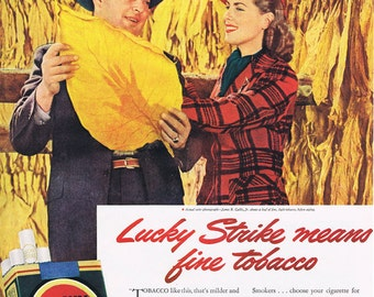 Lucky Strike.cigarettes.tobacco.Life magazine.original.page.ad,home deco,sweetie.kitchen vintage.dad.art.eco.gift.retro.wall hanging.living