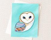 Boho Barn Owl Card - Tribal Print Geometric - Owl Art Stationary
