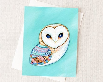 Boho Barn Owl Card - Tribal Print Geometric - Owl Art Stationary - Owl Watercolor Card - Owl Painting Greeting Card