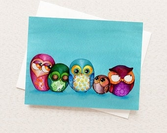 Watercolor Owls Card - Owl Family Painting - Cute Owls - Cute Animal Card - Animal Family Card - Whimsical Owls