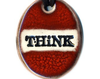 Think Ceramic Necklace in Deep Red