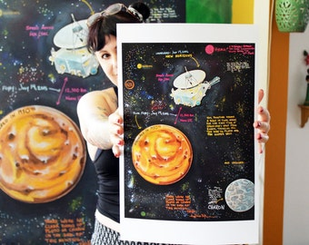 New Horizons and Pluto Science Art Print 11x17 Poster Art by Surly Amy Davis Roth