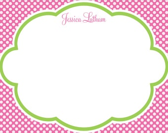 Pink and green stationery