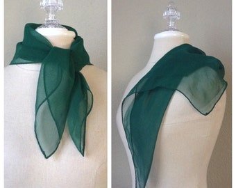 Vintage 60s Green chiffon scarf / headscarf / necktie / rockabilly / mod / retro / pin up