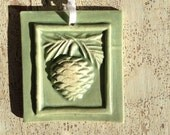 Winter White and Sage Pinecone Tile