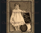 Vintage Sewing Thread Advertisement 8 by 10 Original  Print by Cheryl Weaver 8 by 10 Primitive  Americana Folk Art Country Decor
