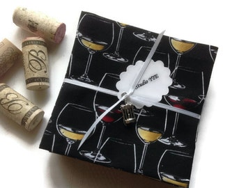 Wine Glasses Eco Friendly Cotton Cloth Cocktail Napkins Beverage Napkins Party Cocktail Napkins - set of 8