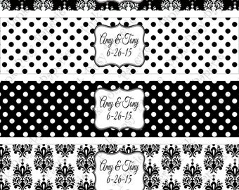 Printable Black and White Damask and Polka Dot Wedding Water Bottle Wrappers