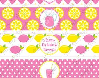 Printable Pink Lemonade Birthday Water Bottle Wrappers