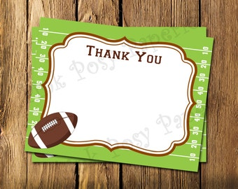 Printable Football Flat Thank You Note Cards - Instant Download