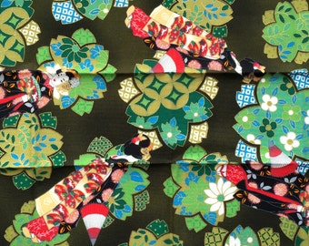Japanese Fabric-  Cherry Blossom Fabric - Traditional Japanese - Green Fabric - Floral Fabric - Geisha Fabric  (F154) SMALL SIZE