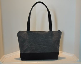VEGAN Grey and Black Waxed Canvas Zippered Tote Bag Purse