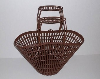 Vintage Plastic Bag Tote ,Brown Faux basket ,70s vintage cary all, Beach or Market