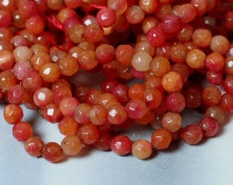 Candy jade faceted round 4mm firebrick red 15-inch strand (item ID CJ4mRR2)