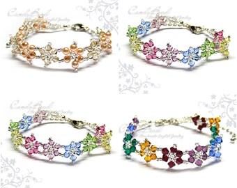 Rainbow bracelet; crystal bracelet; Swarovski bracelet; Glass bracelet;Flower Swarovski Crystal Bracelet - Sweet colors by CandyBead