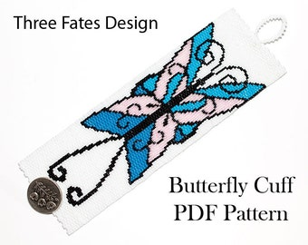 Beaded Cuff Pattern, Butterfly, Peyote Stitch, Gourd Stitch, Bracelet Pattern, Instant Download,