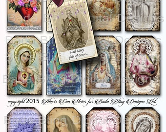 Antique Prayer and Holy Cards, religious collage sheets,  3 x 2 tags, INSTANT Digital Download at Checkout, gift tags, religious tags