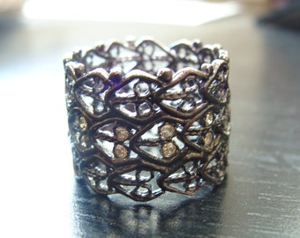 Sterling filigree lace cigar band wedding ring with cognac diamonds
