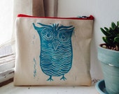 OWL no.1 -- mini pouch, clutch, cosmetic bag, pencil pouch, art pouch, camera pouch