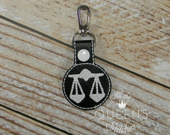 Libra Zodiac Charm Key Fob with Swivel Clip -- Carry Your Libra Astrological Sign wherever you go