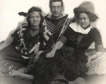 vintage photo 1910 Pendleton Oregon Teenagers Cowgirls Cowboy and Indians costume Freda & Beaulah