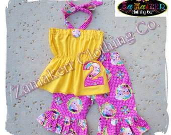 Custom Boutique Clothing Girl Frozen Elsa Anna Top Pant Halter Outfit Set Birthday Party Summer Size 3 6 9 12 18 24 month 2t 3t 4t 5t 6 7 8