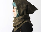 Khaki hooded scarf, Khaki green cowl, Green patterned hooded cowl, Army green pixie cowl, Removable hood, Pixie hood cowl
