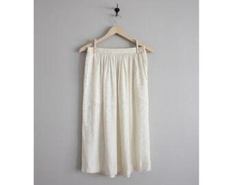 cream silk skirt / high waist skirt / cream midi skirt