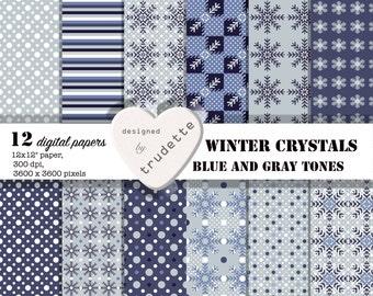 Digital paper, Digital Scrapbook paper pack - Instant download - comercial use - Winter Crystals - school supply - card making - winter