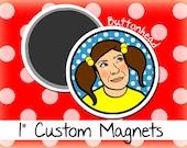 10 Custom Round Craft Magnets 1 Inch (Small)