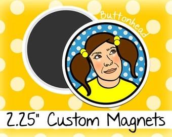 250 Custom Magnets Bulk Wholesale 2.25 Inch (Large) Round