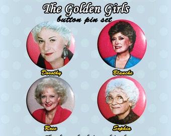 The Golden Girls Button Pins 1980s (Set of 4)