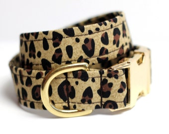 Animal Print dog collar - Brass Leopard Print