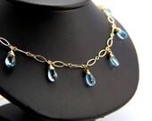 Sabina - Sky Blue Topaz and Gold Filled Necklace