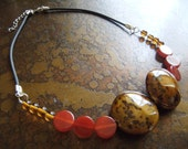Earthy Oasis Glass and Carnelian Leather necklace