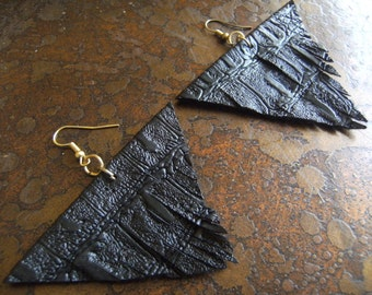 Triangle Leather Fringe earrings