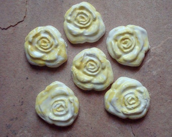 Yellow Texas Rose Ceramic Clay Pottery Tiles for Mosaic, Home Decor, Craft Supplies