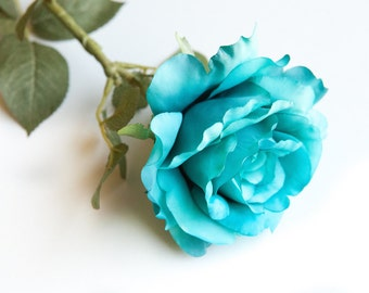 Large Blooming Rose in Bright Aqua Blue -RoSE HEAD ONlY- Artificial Flower, Millinery Flower - ITEM 0569