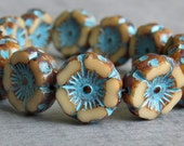 12mm Beige Turquoise Picasso Czech Glass Daisy Flower Bead  : 6 pc Cream Czech Flower