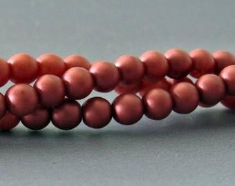 4mm Metallic Red Druk Czech Glass Bead : Full Strand Matte Red 4mm Bead