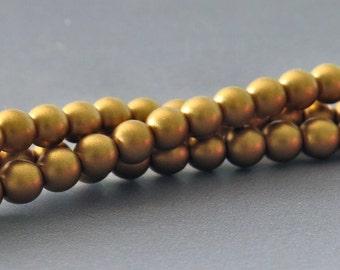 4mm Metallic Brass Druk Czech Glass Bead : Full Strand Matte Brass 4mm Bead