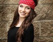 Headbands for Women, Funky Headband, Cute Headbands, Retro Head Band, Fun Headband, Wide Red Headband Over Your Forehead, Stretchy Head Band