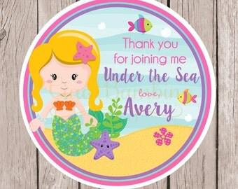 Mermaid Birthday Party Favor Tags or Stickers / Choose Mermaid Hair Color / Set of 12 - 0022