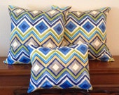 Decorative-Accent-Throw PIllow Covers-Set of Two Approximately 18 inch- Multi-Colored Ikat Diamond,Free Domestic Shipping