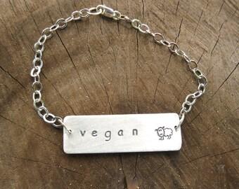 Vegan Bracelet-Vegan Jewelry-Vegan Sheep Bracelet-Eco Friendly-Recycled Metals