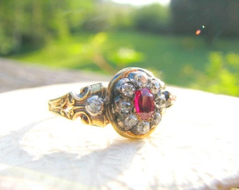 Antique Ruby Diamond Ring, Gorgeous Ruby, Old Mine Cut Diamonds, 18K Gold, Detail Work, Full Hallmarks and Hand Engraving, Circa 1850